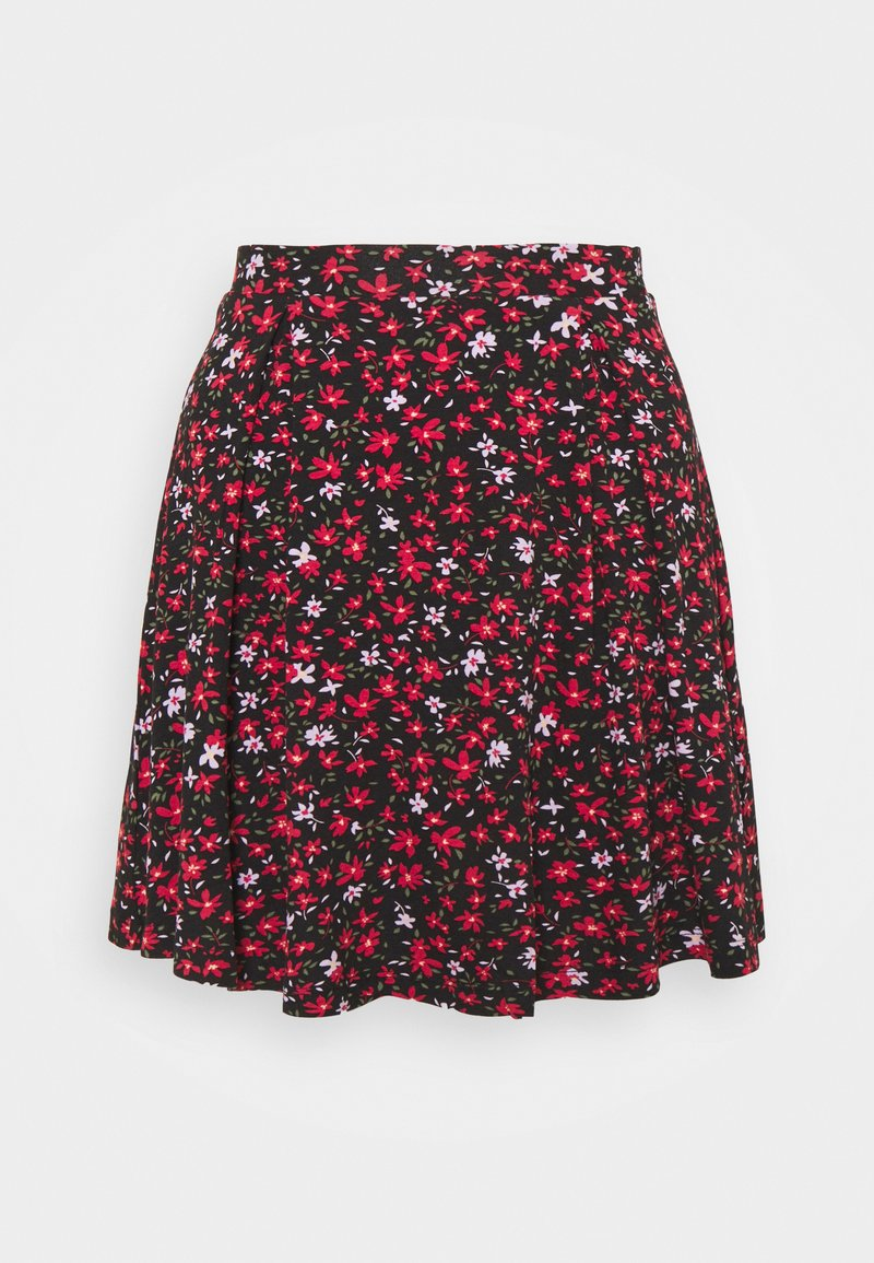 Even&Odd Petite - A-line skjørt - black/red