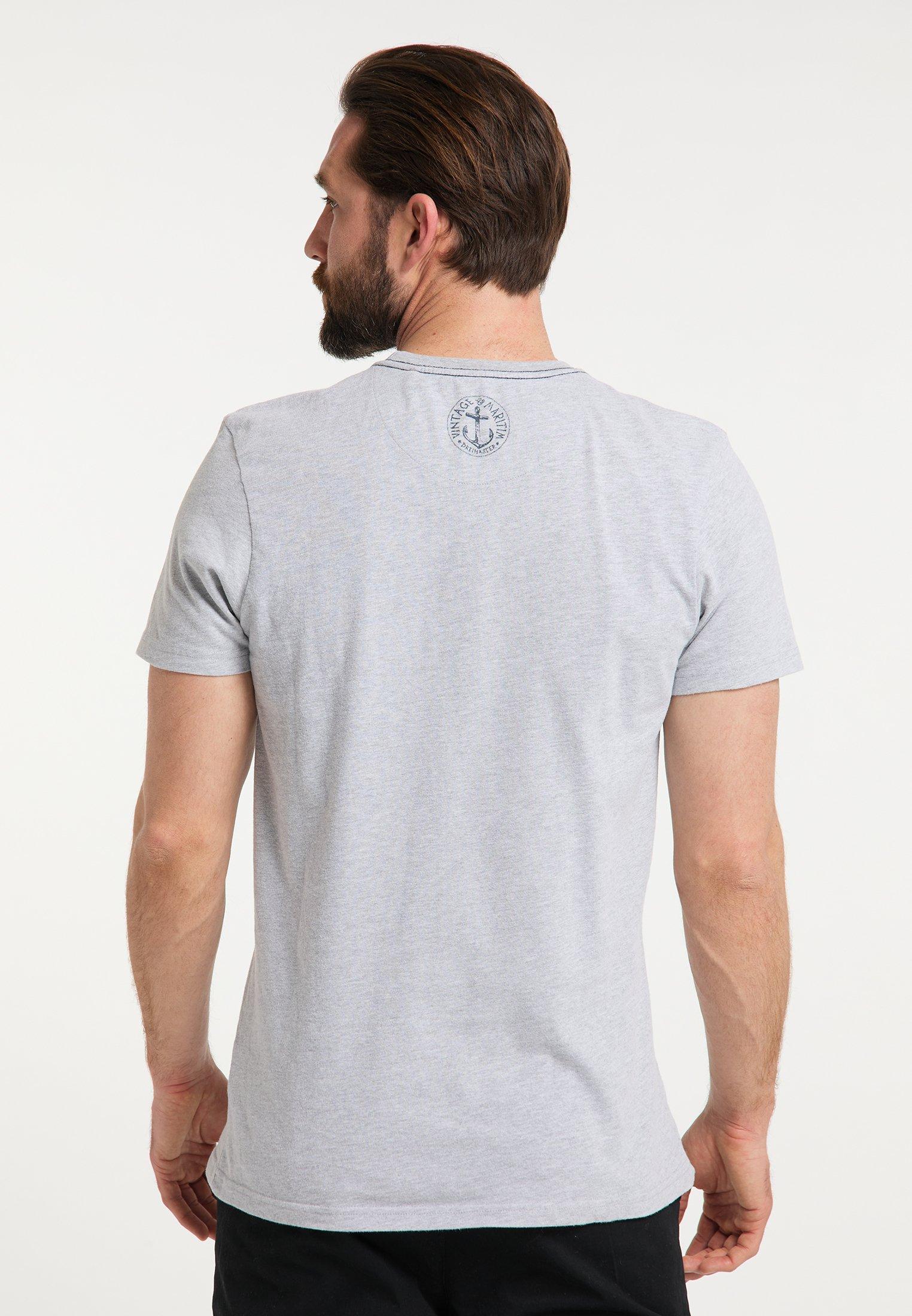 DreiMaster DREIMASTER T-SHIRT - Print T-shirt - hellgrau melange Eneze