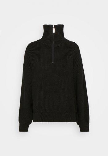 HALF ZIP UP - Stickad tröja - black