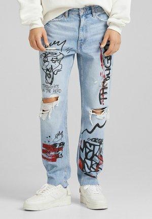 MIT RISSEN  - Straight leg jeans - blue denim