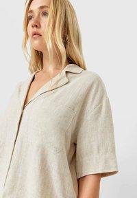 Stradivarius - Button-down blouse - beige - 3