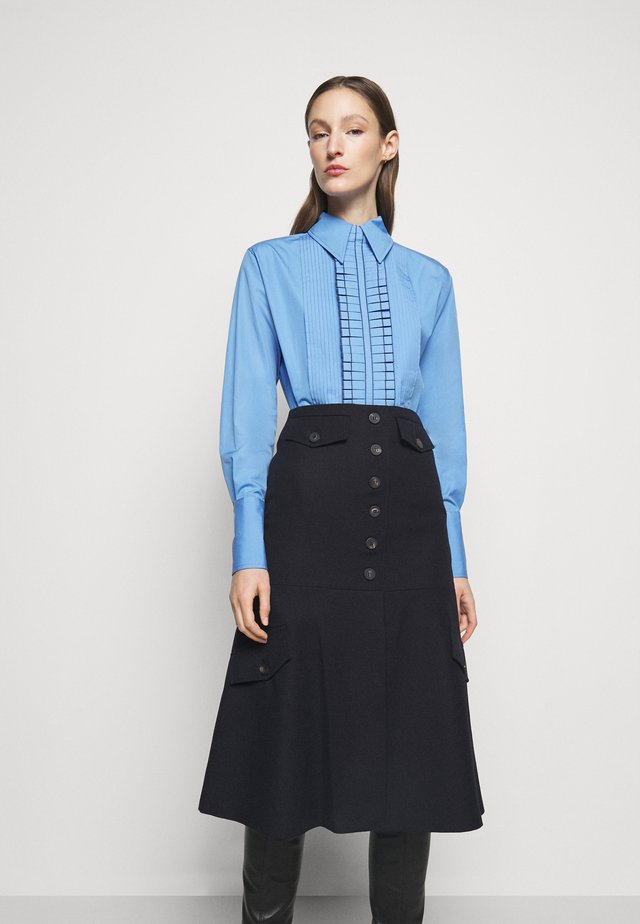 TUXEDO RUFFLE - Button-down blouse - oxford blue