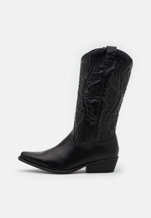 DEVON TALL WESTERN BOOT - Cowboy/biker ankle boot - black