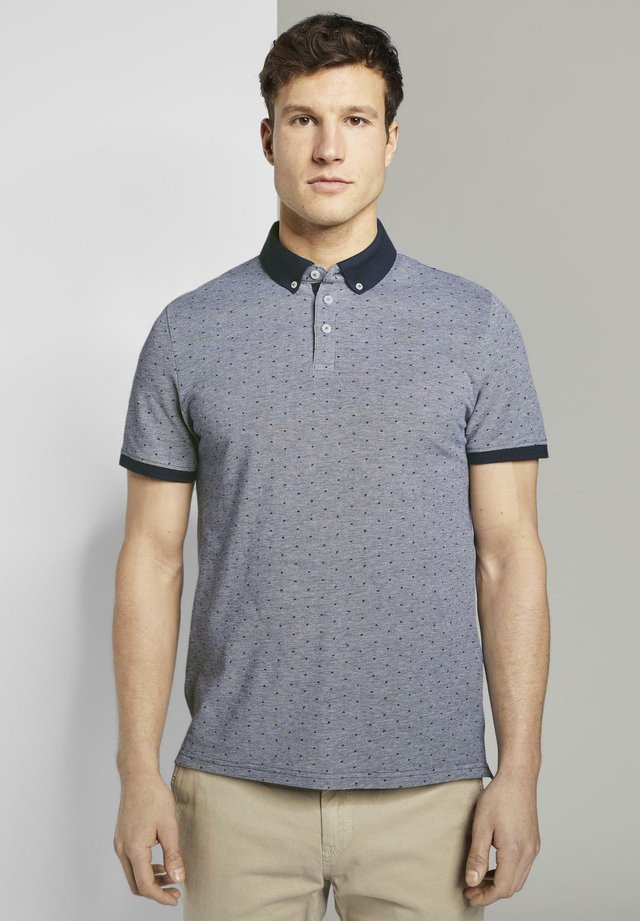 TOM TAILOR POLOSHIRTS POLOSHIRT MIT ALLOVER-PRINT - Polo - dark blue two tone