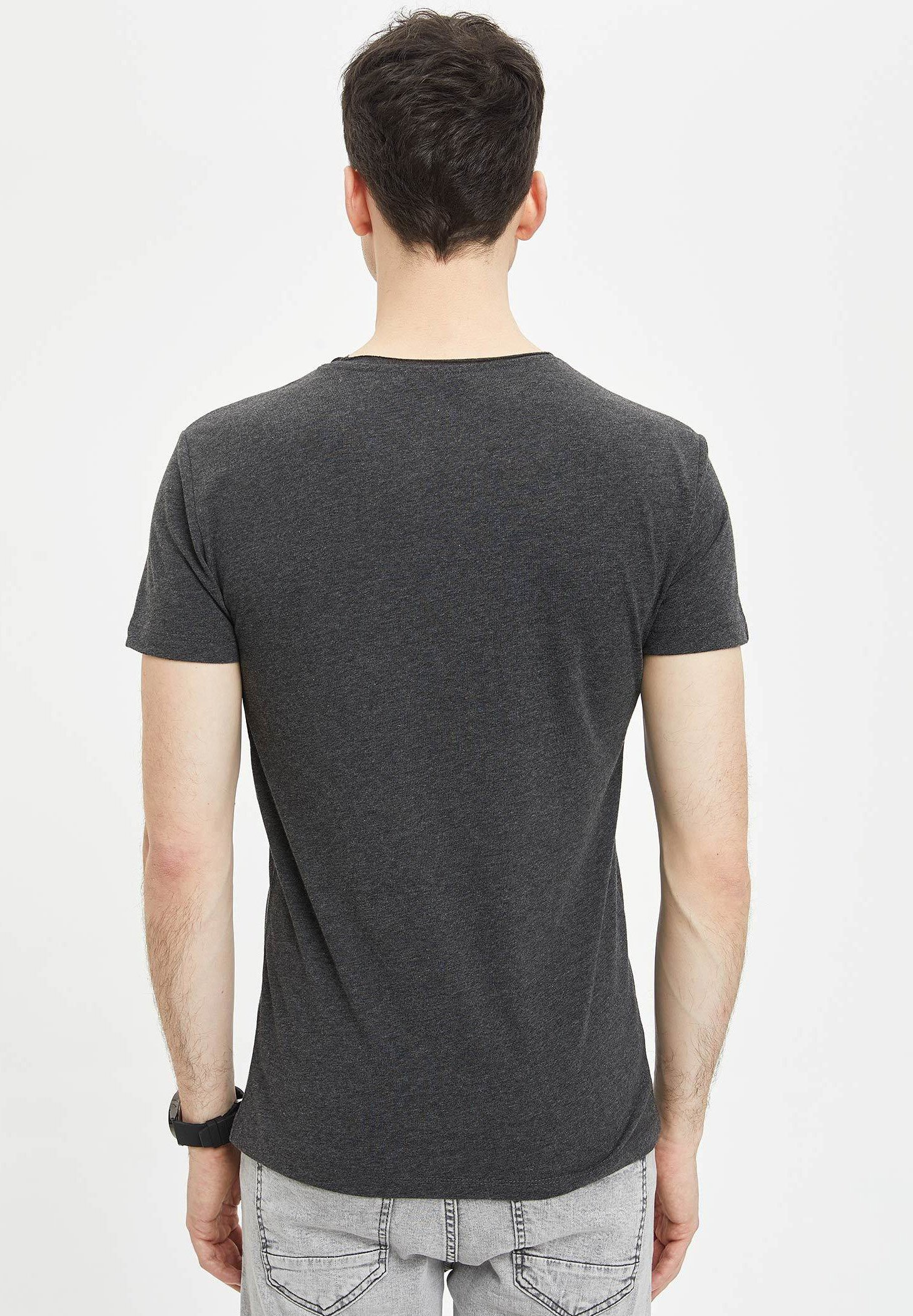 DeFacto Basic T-shirt - anthracite tp2OY