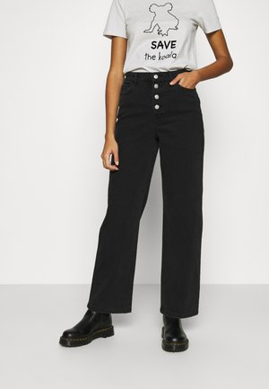 LIFE WIDE  - Flared Jeans - black denim