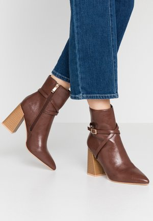 ELYSHA - High heeled ankle boots - brown