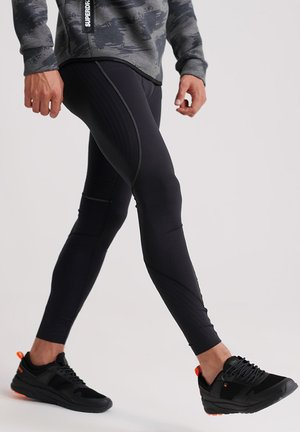 SUPERDRY PERFORMANCE FLOCK COMPRESSION LEGGING - Tracksuit bottoms - black