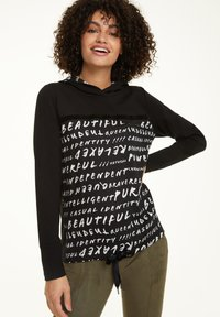 comma casual identity - MIT TUNNELZUG-SAUM - Hoodie - black graffity - 0