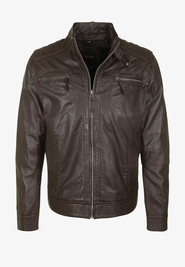 DAVID - Leather jacket - brown