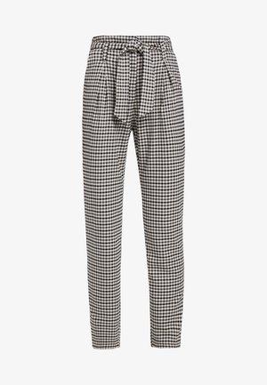 ONLLENA PAPERBAG PANTS - Trousers - grape leaf/black/cream pink