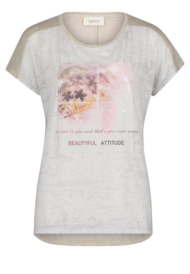 MIT AUFDRUCK - T-shirt imprimé - beige-rosé
