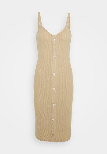 VMTIA BUTTON CALF DRESS - Vestido de punto - travertine