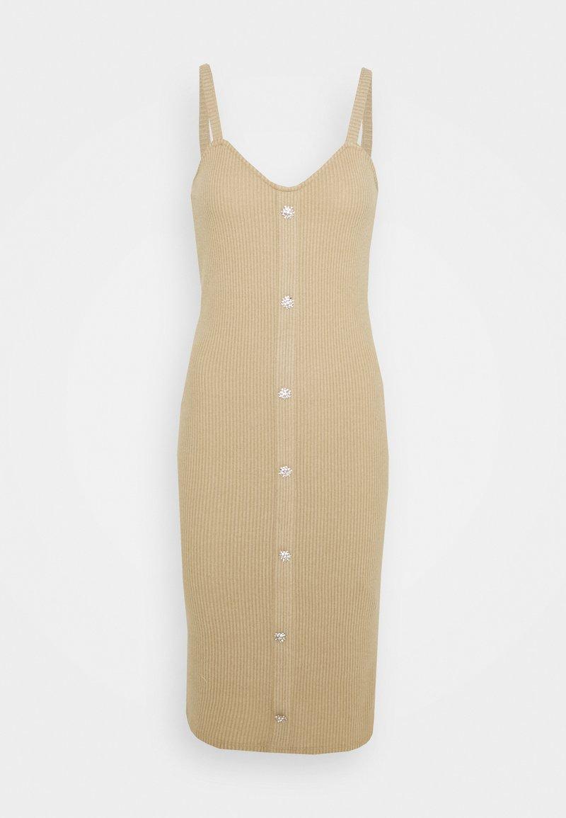 Vero Moda - VMTIA BUTTON CALF DRESS - Vestido de punto - travertine