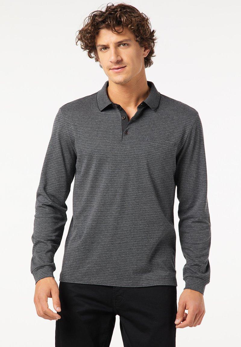 Pierre Cardin - GESTREIFT - Polo shirt - schwarz