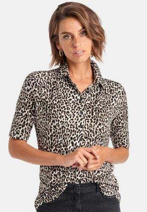 MIT 1/2-ARM - Button-down blouse - ecru/black