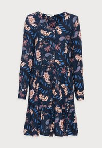 DRESS WITH FLOUNCE - Day dress - navy