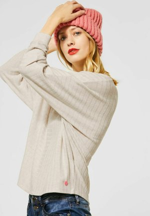 MIT RIPP-STRUKTURMIX - Long sleeved top - beige
