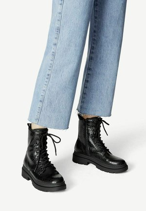 Lace-up ankle boots - black struct.