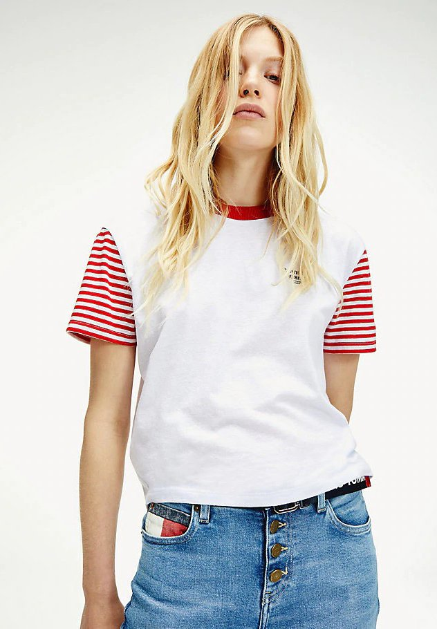 TJW STRIPED SLEEVE TEE - T-shirt print - weiß