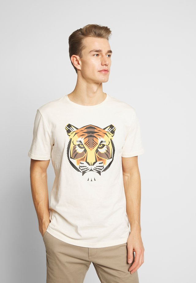 TIGER  - Print T-shirt - ivory