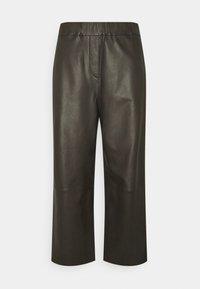 Marc O'Polo - PANTS CULOTTE MEDIUM RISE WIDE LEG CROPPED  - Trousers - black brown - 0