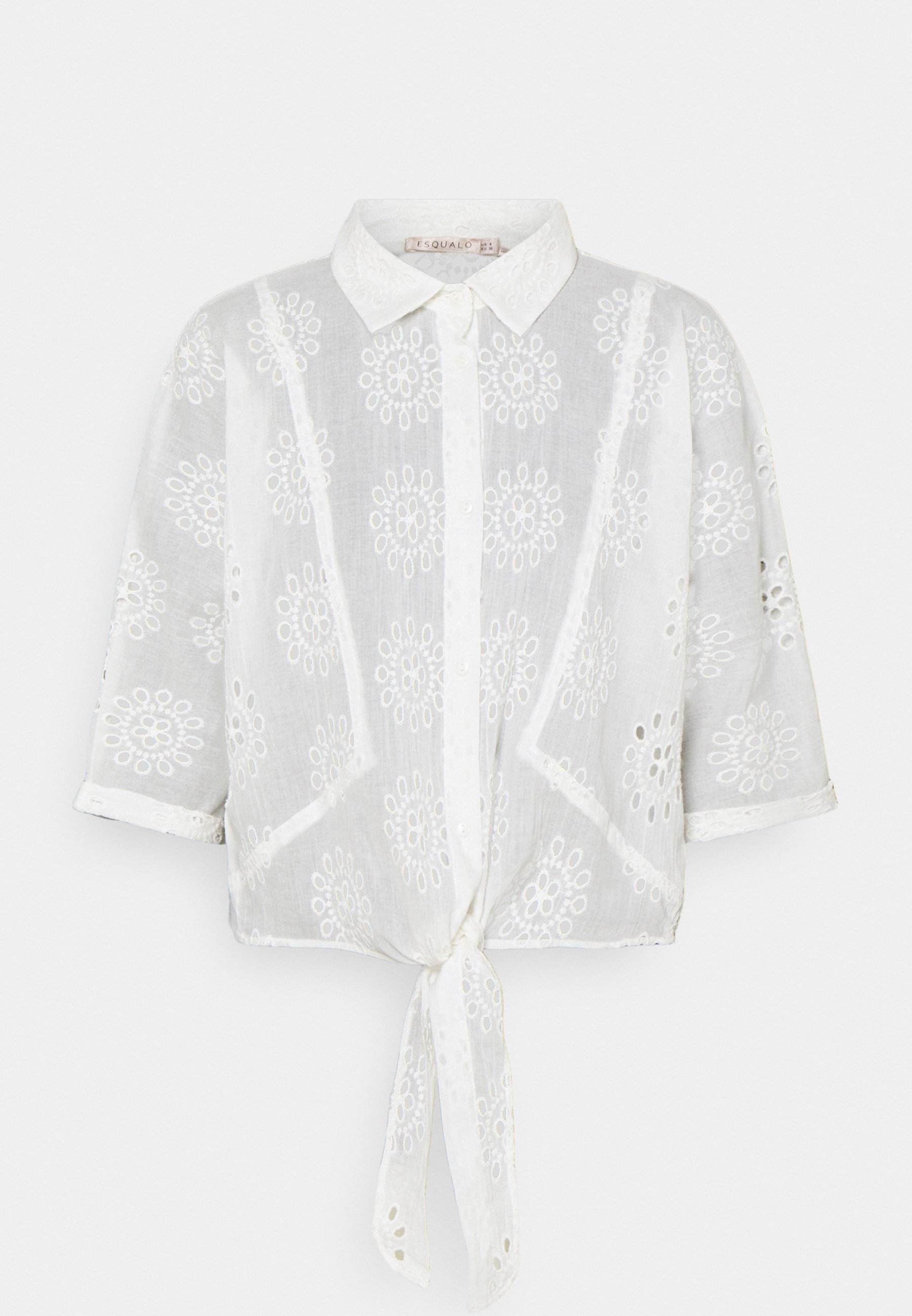 Women BLOUSE KNOT BRODERIE ANGLAISE - Blouse