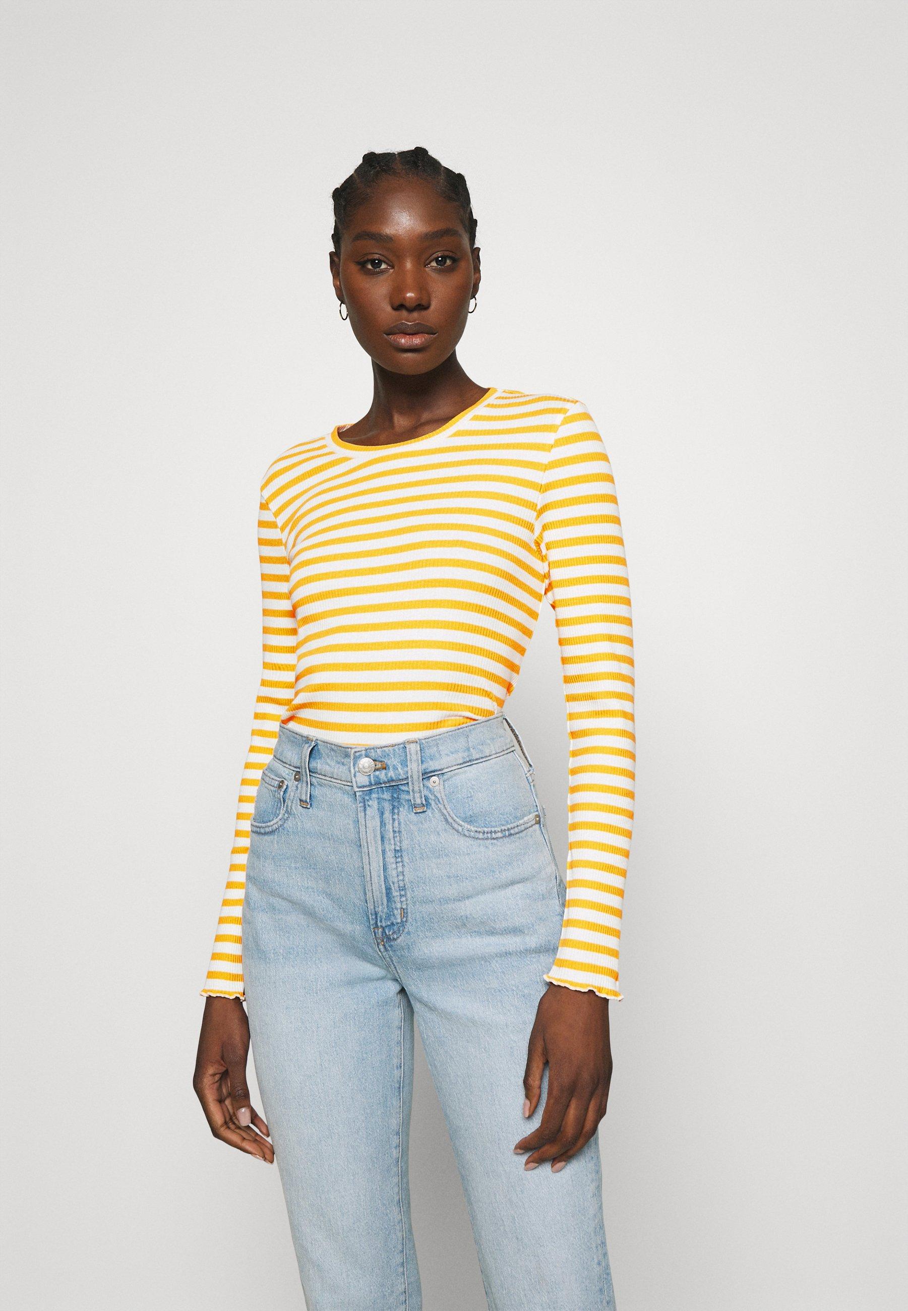 Women SLFANNA CREW NECK TEE - Long sleeved top - citrus/snow white