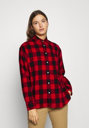 LONG SLEEVE BUTTON FRONT SHIRT - Button-down blouse - red/black