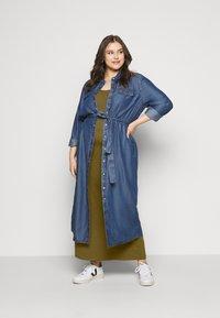 Urban Classics Curvy - LADIES LONG RACER BACK DRESS - Maxi šaty - summer olive - 1