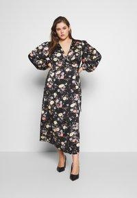 Glamorous Curve - LONG SLEEVE WRAP DRESS - Maksimekko - black - 0