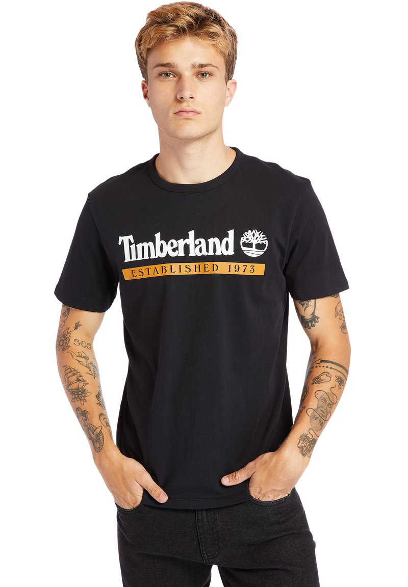 Timberland - Print T-shirt - black-wheat boot