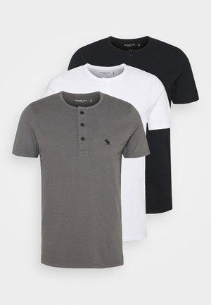 NEUTRAL HENLEY 3 PACK - Jednoduché triko - black/grey/white