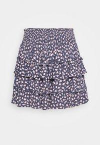 RUFFLE MINI SKIRT - Mini skirt - mottled dark blue