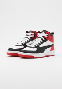 Puma - REBOUND JOY UNISEX - High-top trainers - white/black/high risk red - 1