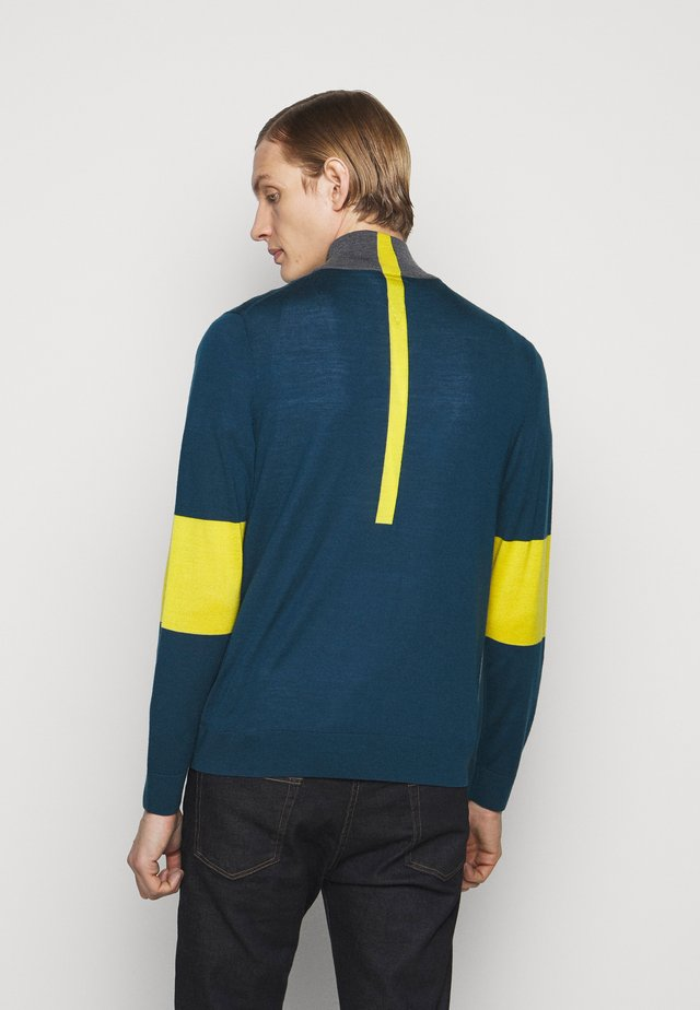 MENS ZIP NECK - Pullover - petrol/dark grey melange/yellow