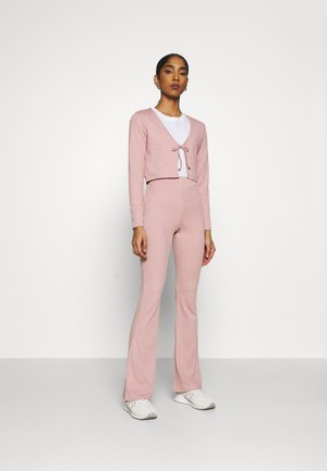 FLARE AND TIE FRONT SET - Cardigan - pale mauve
