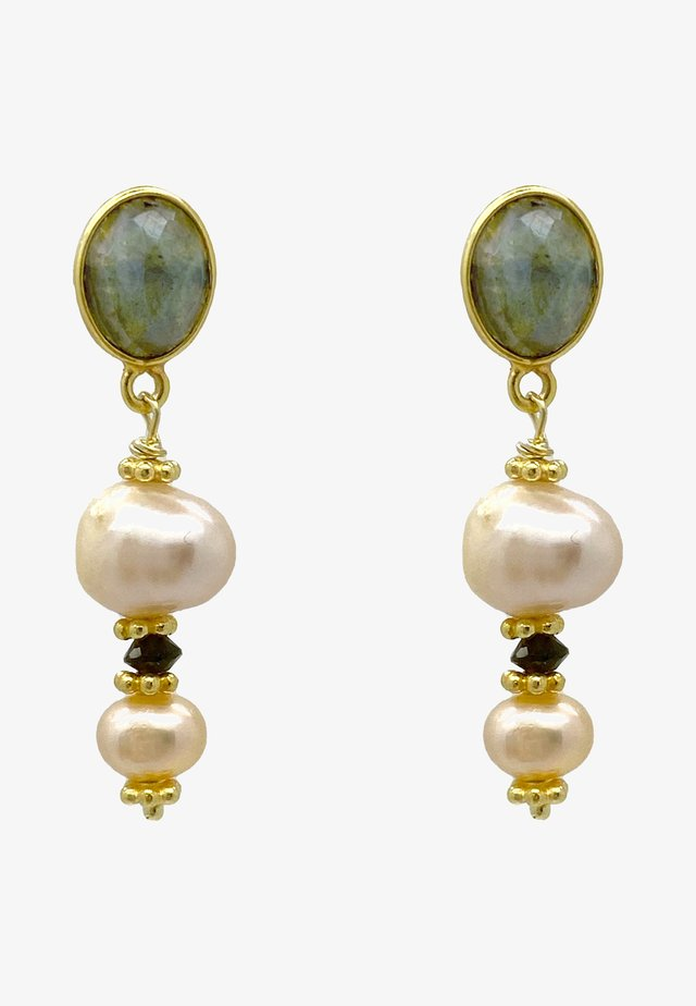 Earrings - gold grau weiss