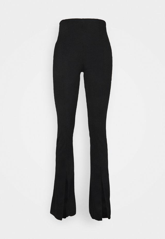 SPLIT FLARE TROUSER - Trousers - black
