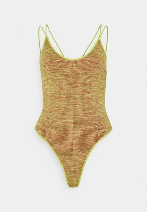 STRAPPY BACK THONG BODYSUIT - Top - chartreuse space dye
