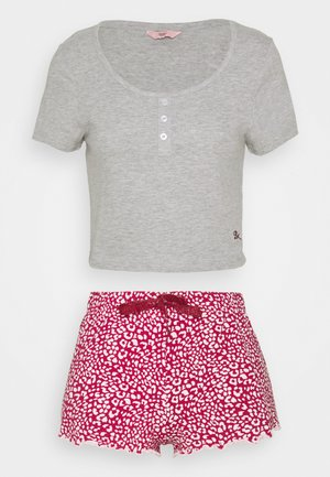 LOVE ALWAYS TEE & LEOPARD SHORT - Pyjamas - grey marl