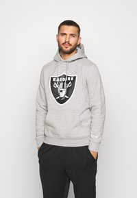 Fanatics - NFL OAKLAND RAIDERS ICONIC SECONDARY COLOUR LOGO GRAPHIC HOODIE - Bluza z kapturem - grey marl - 0