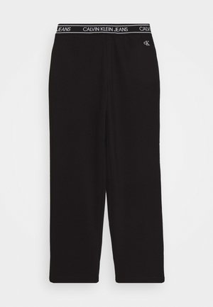 LOGO WAISTBAND WIDE PUNTO PANTS - Tracksuit bottoms - black