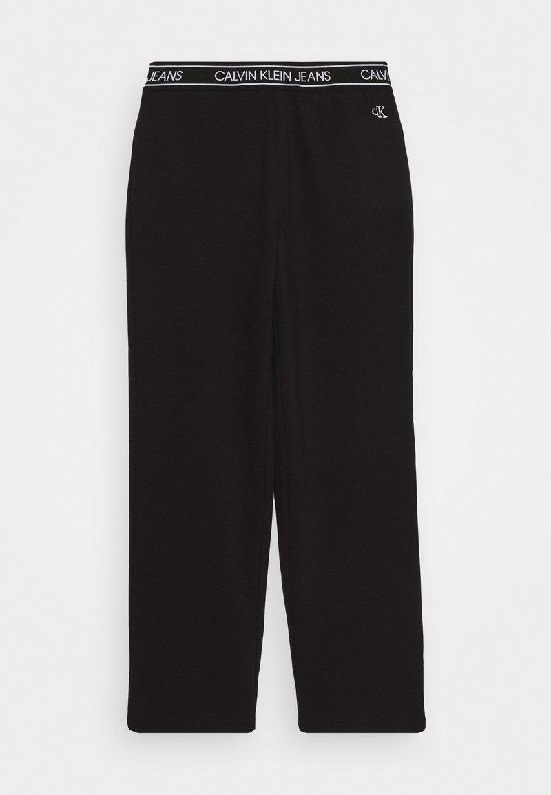 Calvin Klein Jeans - LOGO WAISTBAND WIDE PUNTO PANTS - Tracksuit bottoms - black