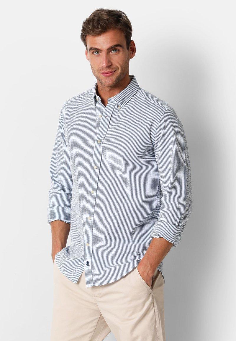Scalpers - SCALPERS TEXTURED STRIPED SHIRT - Shirt - blue stripes