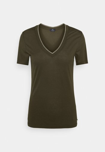 V NECK SHORT SLEEVE TEE WITH STRIPED DETAIL - Basic T-shirt - mountain brown