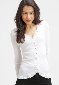 Rosemunde - SILK-MIX CARDIGAN REGULAR LS W/REV VINTAGE LACE - Cardigan - new white - 0