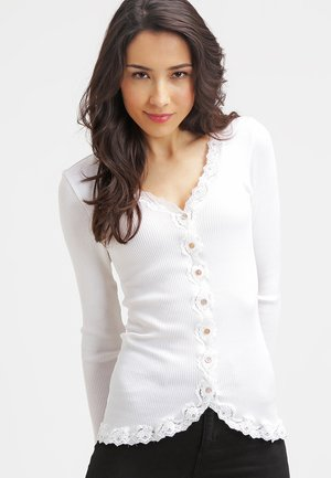 SILK-MIX CARDIGAN REGULAR LS W/REV VINTAGE LACE - Cardigan - new white