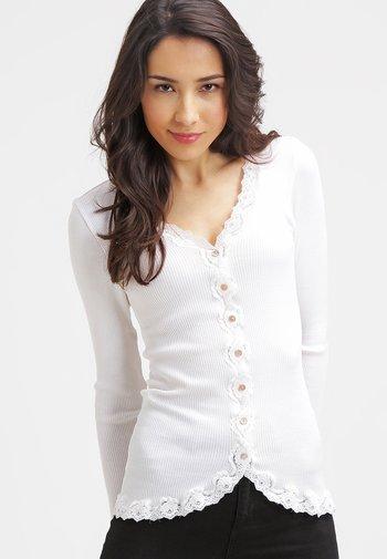 SILK-MIX CARDIGAN REGULAR LS W/REV VINTAGE LACE - Cardigan - new white