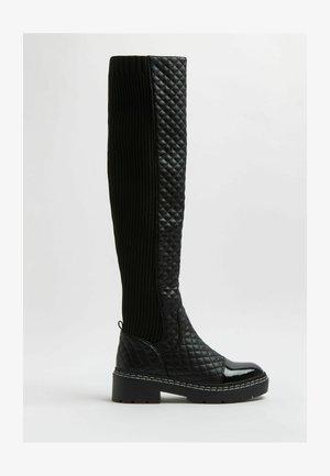 QUILTED - Overknee laarzen - black